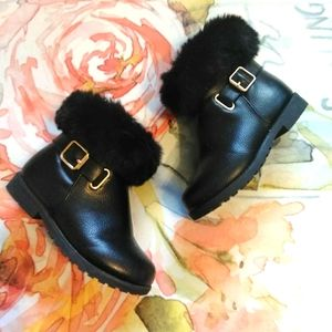 Place Children's Black Faux Fur Boot Kids Shoes